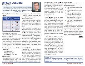 Direct cuebiDs - ACBL District 9