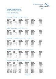 Flugplan Winter 2009/2010 Winter Flight Plan 2009/2010