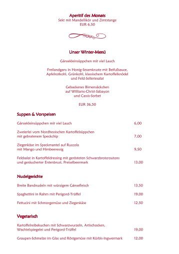 Aperitif des Monats Aperitif des Monats Unser Winter-Menü Suppen ...