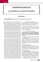 CONVENTION SFEN 2012 Le nucléaire un an après Fukushima