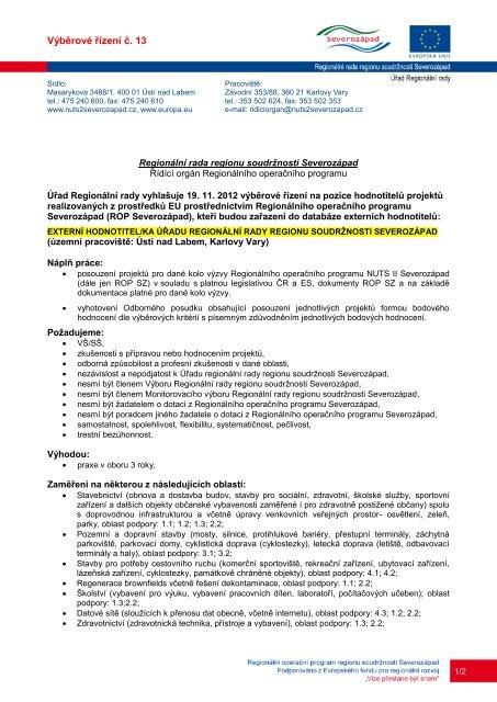 Výběrové řízení č. 13 - Regionální rada regionu soudržnosti ...
