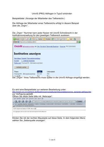 1 von 6 UnivIS (PRG) Abfragen in Typo3 einbinden Beispieldatei ...