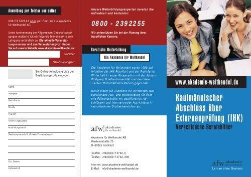Kaufmännischer Abschluss über Externenprüfung (IHK)