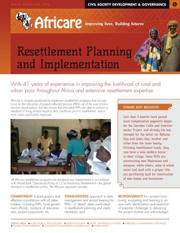 Resettlement Planning and Implementation - Africare