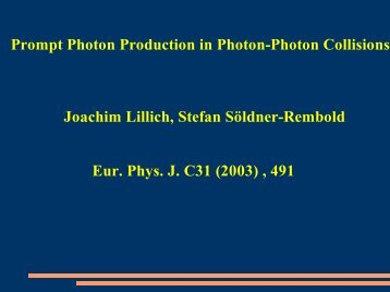 Prompt Photons - HEP