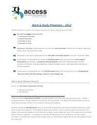 Work & Study Programs – 2012