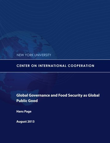 Global Governance and Food Security as Global Public Good