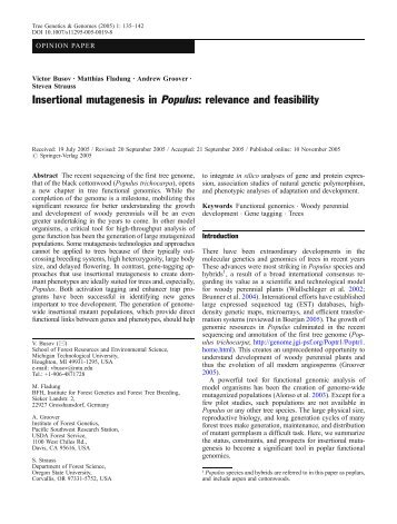 Insertional mutagenesis in Populus: relevance and ... - Springer