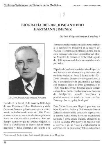 BIOGRAFÍA DEL DR. JOSE ANTONIO HARTMANN JIMENEZ