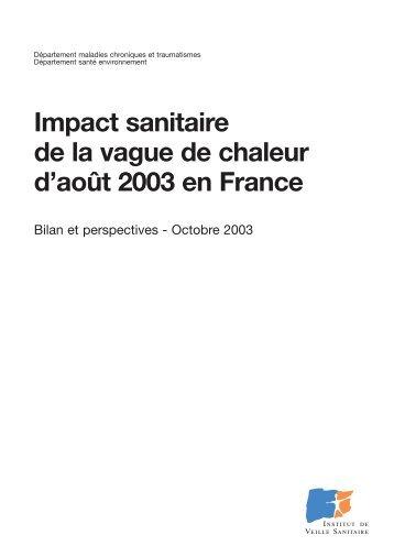 Impact sanitaire de la vague de chaleur d'août 2003 en France