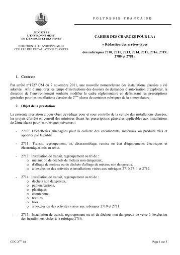 Cahier des charges 2ème lot - Direction de l'environnement de la ...