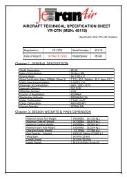 aircraft technical specification sheet yr-otn (msn: 49119) - Jetran Air