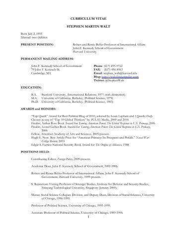 1 curriculum vitae stephen martin walt - Faculty & Staff Directory