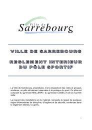 Règlement Intérieur - Site de la Mairie de Sarrebourg