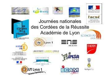 Journées nationales des Cordées de la Réussite Académie de Lyon