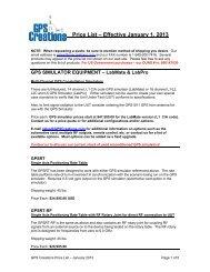 Price List – Effective January 1, 2013 - GPS Creations Home