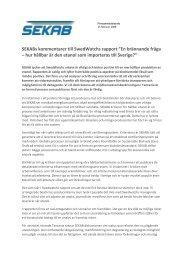 """SEKABs kommentarer till SwedWatchs rapport """"En brännande fråga ..."""