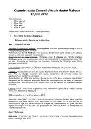 Compte rendu Conseil d'école André Malraux 11 juin 2012
