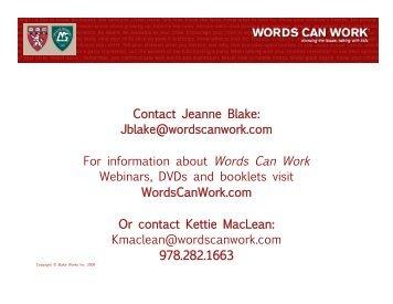 Webinar presentation - Words Can Work