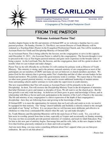 Assistant Pastor Tim!   Oreland Presbyterian Church