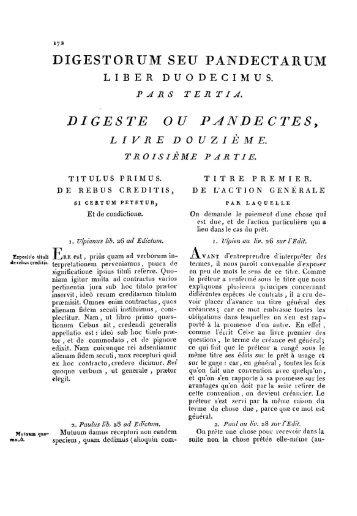 DIGESTE OU PANDECTES, - Histoire du droit