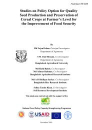 Studies on Policy Option for Quality Seed Production and ... - NFPCSP