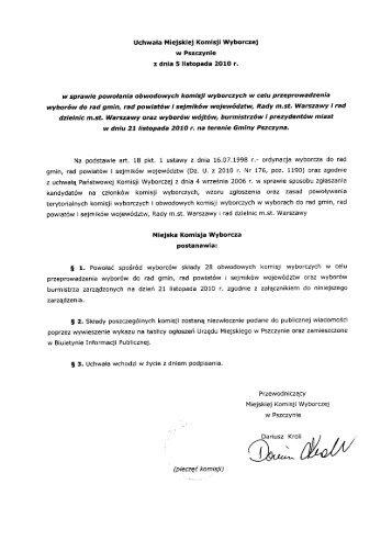 Uchwała Miejskiej Komisji Wyborczej w Pszczynie z ... - Pszczyna.pl