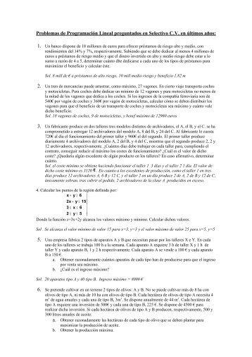 Problemas de Programación Lineal preguntados en Selectivo C