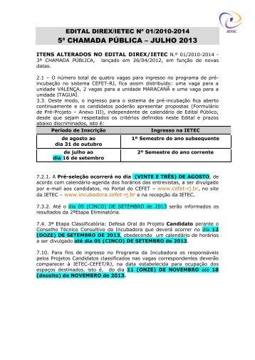 5a CHAMADA PÚBLICA 2013 - CEFET/RJ – Portal de Notícias