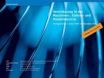 Maschinen-, Elektro- und Metallindustrie (Swissmem): Vereinbarung ...