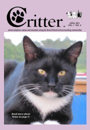 Read more about Nemo on page 3. - Critter Magazine