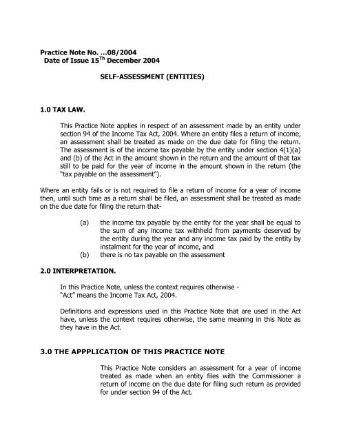 Practice Note No 08 Self Assessment Tra An assessment occurs when an asset's value must be determined for the purpose of taxation. practice note no 08 self assessment