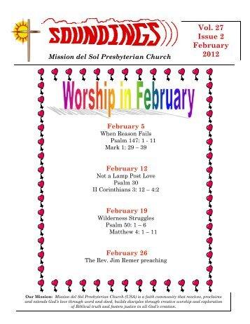 Vol. 27 Issue 2 February 2012 - Mission Del Sol Presbyterian
