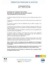 Communiqué de Presse Paris – lundi 29 juin 2009 - Fédération ...