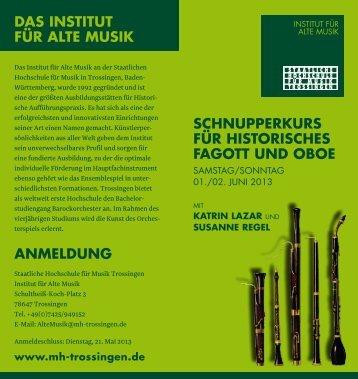 SchnupperkurS für hiStoriScheS fagott und oboe ... - Susanne Regel