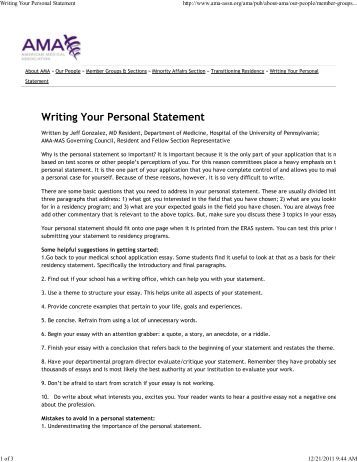 Personal Statement Residency Sample Internal Medicine & Essay