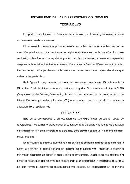 ESTABILIDAD DE LAS DISPERSIONES COLOIDALES
