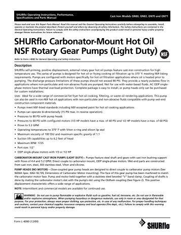 SHURflo Carbonator-Mount Hot Oil NSF Rotary Gear Pumps (Light ...