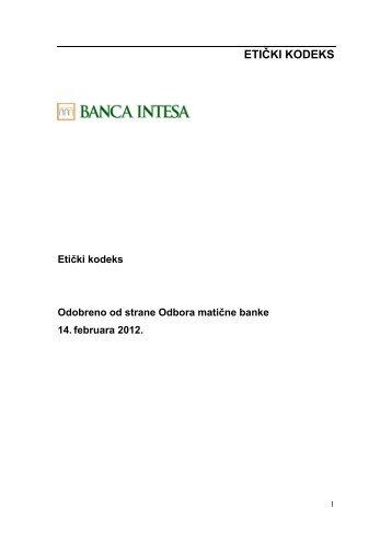 ETIČKI KODEKS - Banca Intesa Beograd