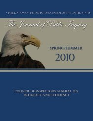 Spring/Summer 2010 - Council of the Inspectors General on Integrity ...