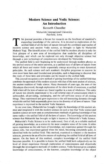 Modern Science and Vedic Science - Maharishi University of ...