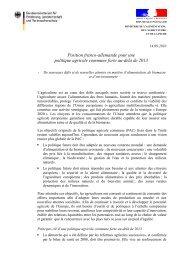 Position franco-allemande pour une politique agricole commune ...