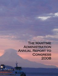 The Maritime Administration Annual Report to Congress 2008