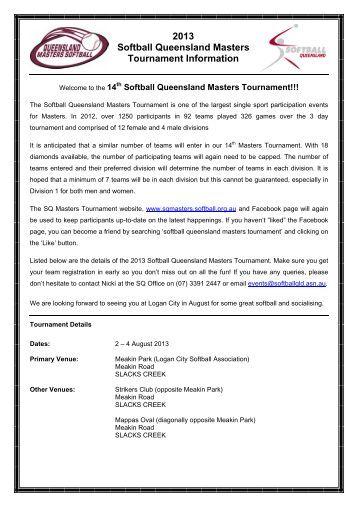 Initial Tournament Information - Softball Qld Masters Tournament