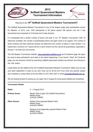 Initial Tournament Information - Softball Qld Masters Tournament