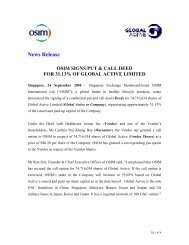 News Release OSIM SIGNS PUT & CALL DEED FOR 31.13% OF ...