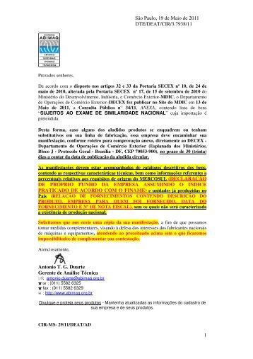 consulta pública nº 34 de 13/05/2011 exame da similaridade - Abimaq