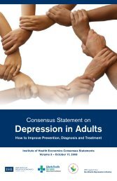 Consensus Statement on Depression in Adults - Institute of Health ...