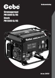 Strømaggregat PM 5500 GL/RS Elverk PM 5500 GL/RS