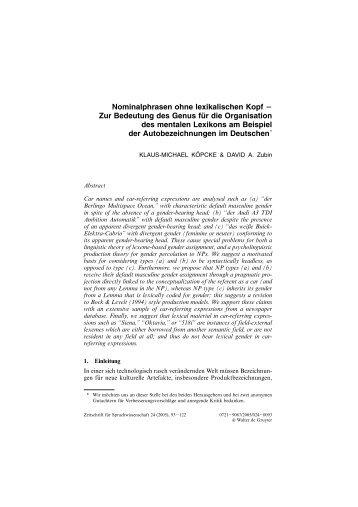 Nominalphrasen ohne lexikalischen  Kopf Zur Bedeutung des Genus ...